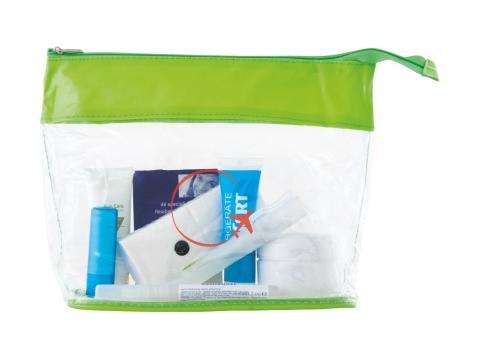 Toiletry bag transparant with coloured band