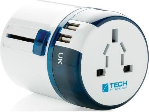 Travel Blue world travel adapter met 2 usb poorten