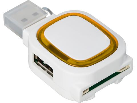 2-port USB hub and card reader