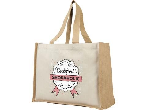 Varai 340 g/m² canvas and jute shopping tote bag