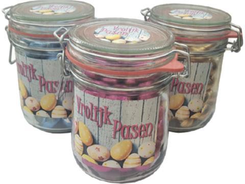 Weckpotten gevuld met paaseitjes - 125 ml