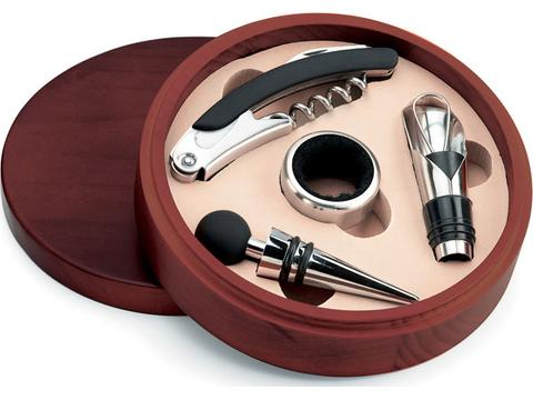 Wine set in wooden box