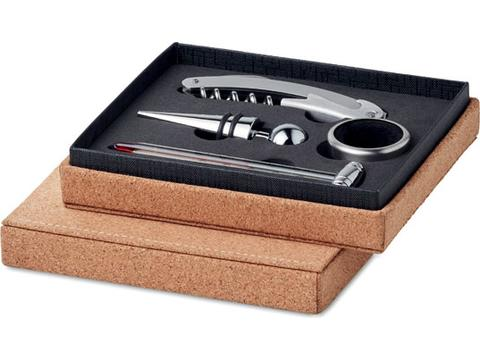 Wine set in cork box
