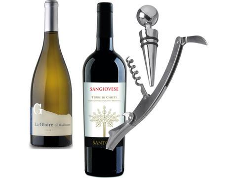 Wijnpakket met wijnstop en opener