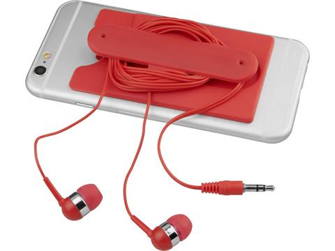 Écouteurs filaires et porte-carte en silicone