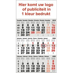 3-maandkalender 1 kleur bedrukt