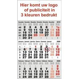 3-maandkalender 3 kleuren bedrukt
