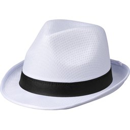 Witte Trilby hoed met gekleurd lint naar keuze