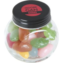 Klein glazen potje gevuld met jelly beans