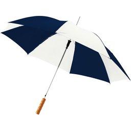 Bedrukte paraplu navy wit