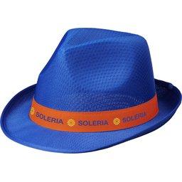 Blauwe Trilby hoed met gekleurd lint naar keuze bedrukken