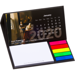 Bureau kalender 2021. met sticky notes en pagemarkers