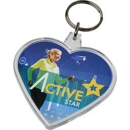Combo hartvormige sleutelhanger bedrukken