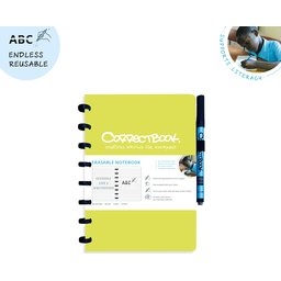 Correctbook - uitwisbare en herbruikbare notitieboek lime