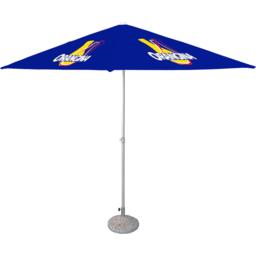 custom made parasol vierkant met logo in quadri full color horeca
