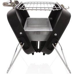 Deluxe draagbare barbecue in koffer-zijkant open