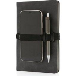 Deluxe hardcover PU A5 notitieboek met telefoon- en penhouder-gsm