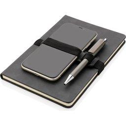 Deluxe hardcover PU A5 notitieboek met telefoon- en penhouder-gsm liggend