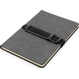 Deluxe hardcover PU A5 notitieboek met telefoon- en penhouder-liggend