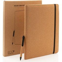 Deluxe kurken A4 portfolio met pen-verpakking