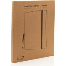 Deluxe kurken A4 portfolio met pen-verpakt