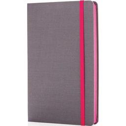 Deluxe stoffen A5 notitieboek met gekleurde zijde bedrukken