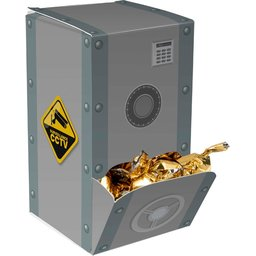 Display box kluis met gouden zuurtjes