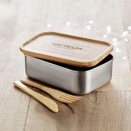 Duurzame lunchbox met bamboe deksel bedrukken