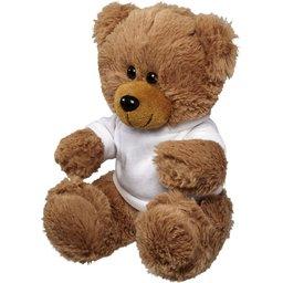 Grote zittende knuffel beer met T-shirt bedrukken