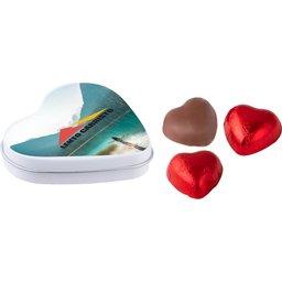Hartenblikje met 3 chocolade hartjes wit