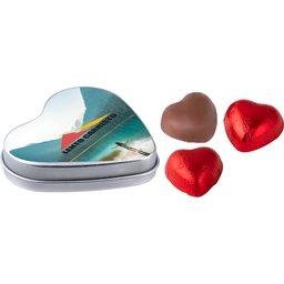 Hartenblikje met 3 chocolade hartjes zilver