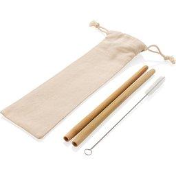 Herbruikbaar eco bamboe rietje set 2 stuks