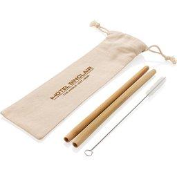 Herbruikbaar eco bamboe rietje set 2 stuks bedrukken