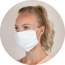 Herbruikbaar mondmasker uit katoen met ruimte voor filter