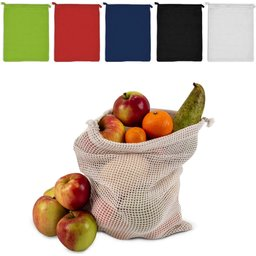 Herbruikbare Groente & Fruit Zakje Oeko-Tex® Katoen 25 x 30 cm.-assortimentjpg