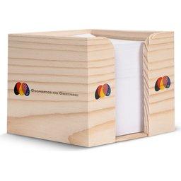 Houten kubushouder met recycled papier 10 x 10 x 8,5 cm