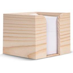 Houten kubushouder met recycled papier 10 x 10 x 8,5 cm-recht