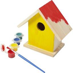 Houten vogelhuisje met verf set 1