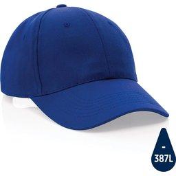 Impact 6 panel 280gr gerecycled katoenen cap met AWARE™ trac-blauw