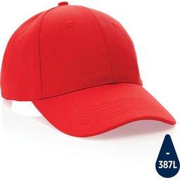 Impact 6 panel 280gr gerecycled katoenen cap met AWARE™ trac-rood
