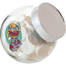 Kleine glazen pot met strooigoed bedrukken