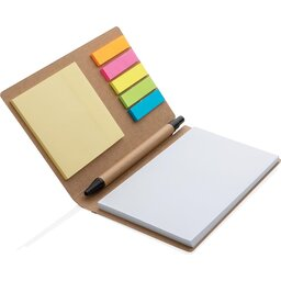 Kraft notitieboekje A6 met pen-open
