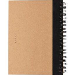 Kraft spiraal notitieboekje met pen-achterzijde