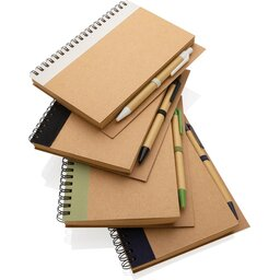 Kraft spiraal notitieboekje met pen-assortiment
