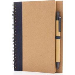 Kraft spiraal notitieboekje met pen-blauw