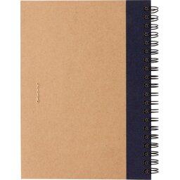 Kraft spiraal notitieboekje met pen-blauw achterzijde