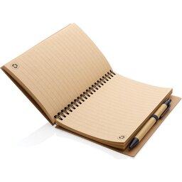 Kraft spiraal notitieboekje met pen-blauw binnenzijde