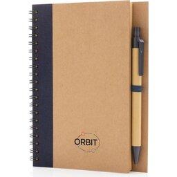 Kraft spiraal notitieboekje met pen-blauw gepersonaliseerd