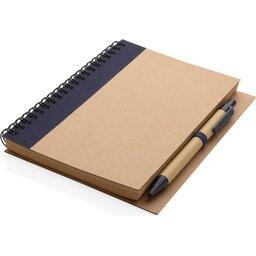 Kraft spiraal notitieboekje met pen-blauw liggend