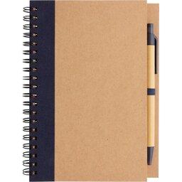Kraft spiraal notitieboekje met pen-blauw voorzijde